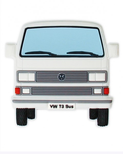VW T3 Bulli Bus Rubber Magnet - Front/weiß