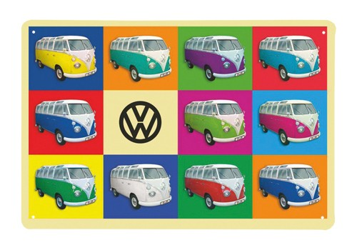 VW T1 Bulli Bus Blechschild 30x20cm - Multicolor