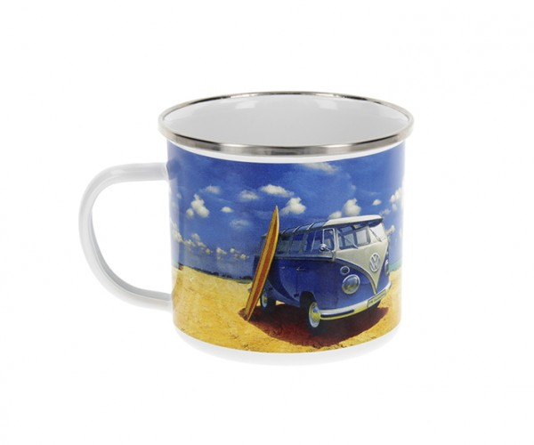 VW T1 Bus Tasse emailliert 500ml - Beach Life