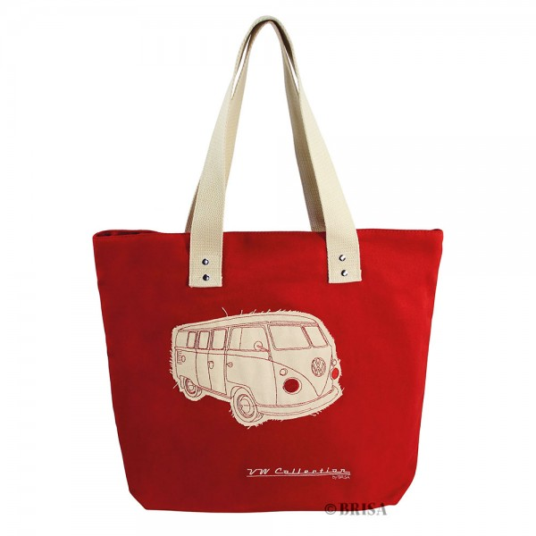 VW T1 Bulli Bus Shopper-Tasche Canvas - rot