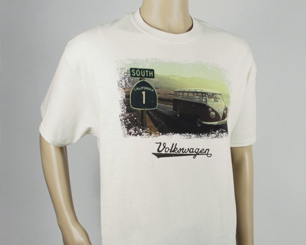 VW T1 Bulli Bus T-Shirt Unisex (M) - Highway 1/Natur