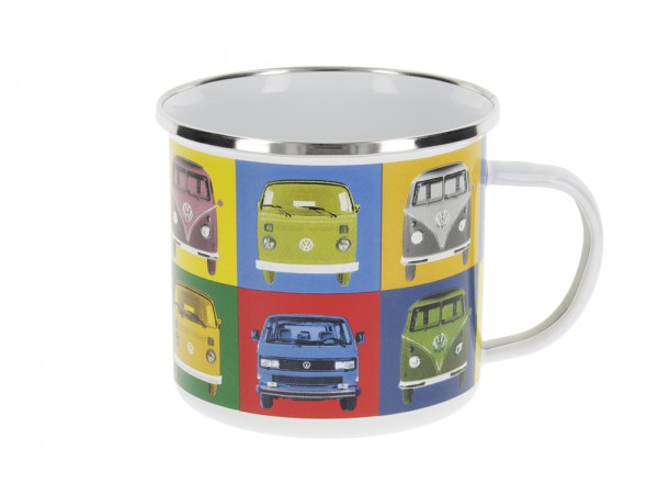 VW T1 Bulli Bus Tasse emailliert 500ml - Multicolor