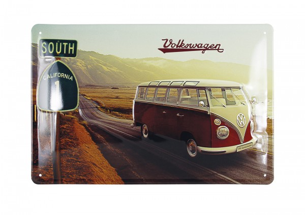 VW T1 Bulli Bus Blechschild 30x20cm - Highway 1
