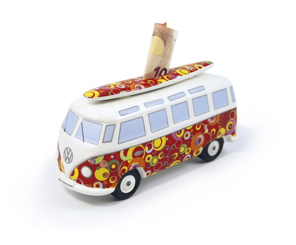 VW T1 Bulli Bus Spardose mit Surfbrett (1:18) - Bubble