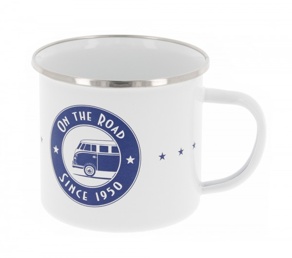 VW T1 Bus Tasse emailliert 500ml - On The Road