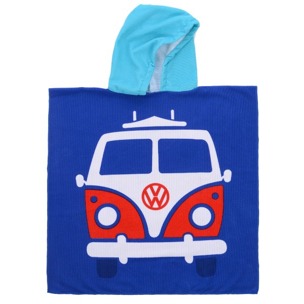 VW T1 Bulli Bus Kinder Bade-Poncho – blau